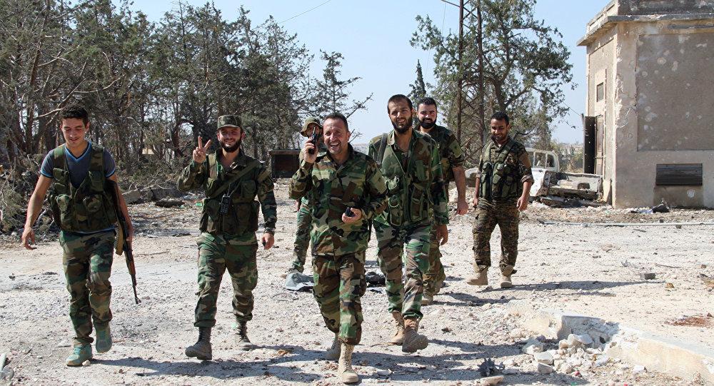 Soldados do Exército sírio da parte de Aleppo libertada dos terroristas, Síria, 5 de setembro de 2016