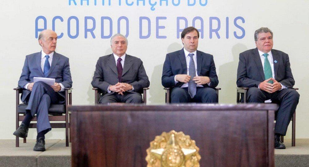 Michel Temer, presidente do Brasil, na cerimônia de ratificação do Acordo de Paris sobre o clima (arquivo)