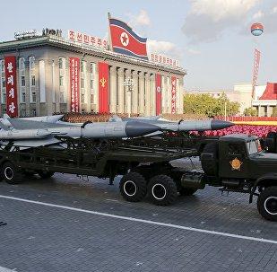 Míssil exibido durante desfile militar na Coreia do Norte (foto de arquivo)