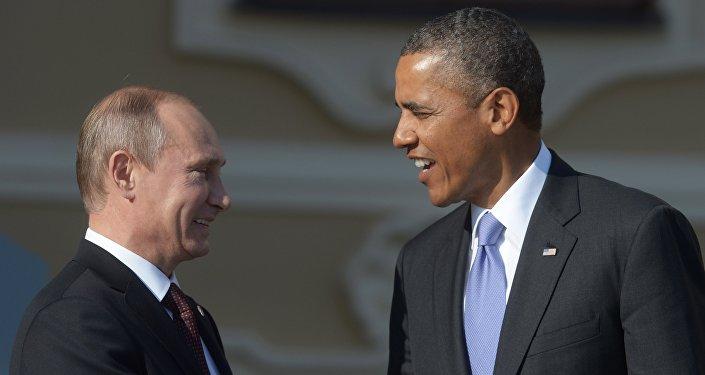 Presidente russo Vladimir Putin e presidente dos EUA Barack Obama
