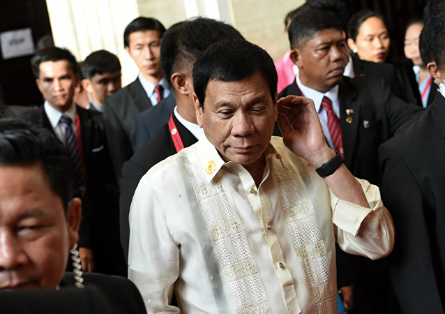 Presidente filipino, Rodrigo Duterte na cúpula em Laos, 8 de setembro de 2016