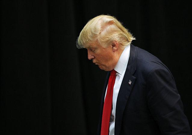 Presidenciável Donald Trump durante um evento da sua campanha eleitoral