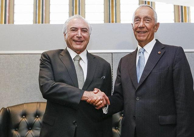O presidente do Brasil, Michel Temer, em reunião com o presidente de Portugal, Marcelo Rebelo de Sousa, em Nova York, nos EUA.