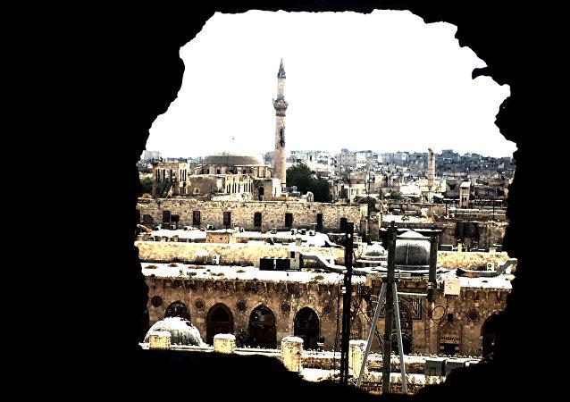 Parte velha da cidade de Aleppo, Síria, setembro de 2016