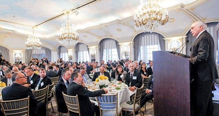 Presidente Michel Temer durante almoço ampliado com Empresários e Investidores nos EUA