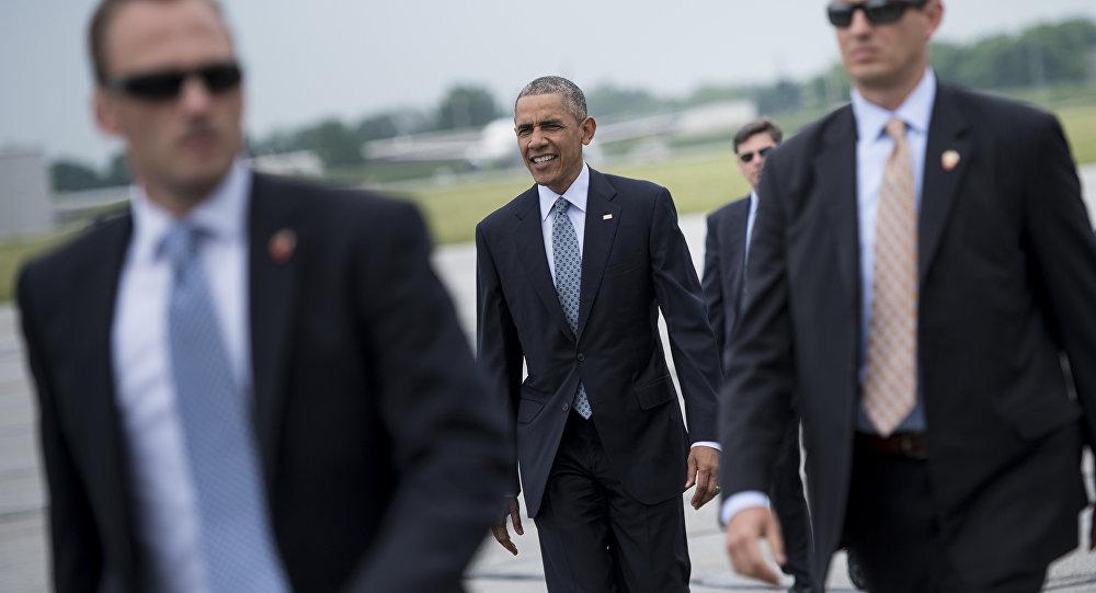Presidente norte-americano Barack Obama chega ao aeroporto de South Bend, Indiana, EUA, junho de 2016