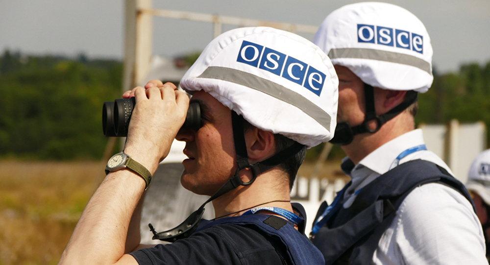 Inspetores da OSCE durante visita à região de Donetsk, na Ucrânia