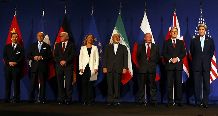 Wu Hailong, Laurent Fabius, Frank-Walter Steinmeier, Federica Mogherini, Javad Zarif, Alexey Karpov, Philip Hammond e John Kerry