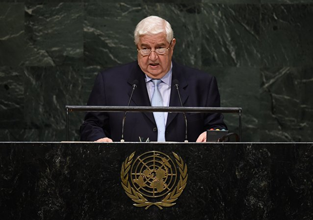 Ministro das Relações Exteriores da Síria, Walid Muallem, na Assembleia Geral da ONU