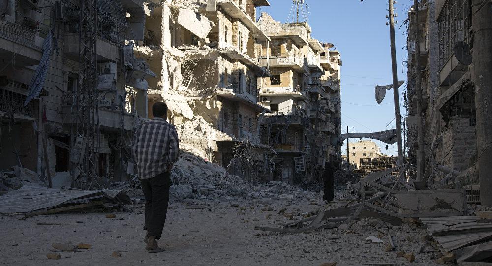 A cidade síria de Aleppo distruida pelos ataques aéreos, 24 de setembro de 2016