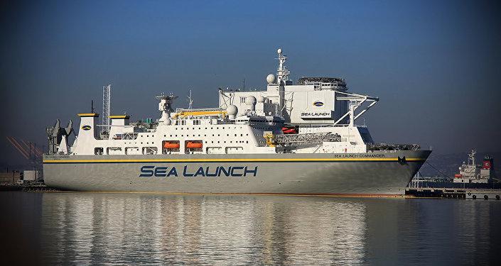 Navio Sea Launch Commander destinado para lançamentos espaciais, do consórcio internacional Sea Launch