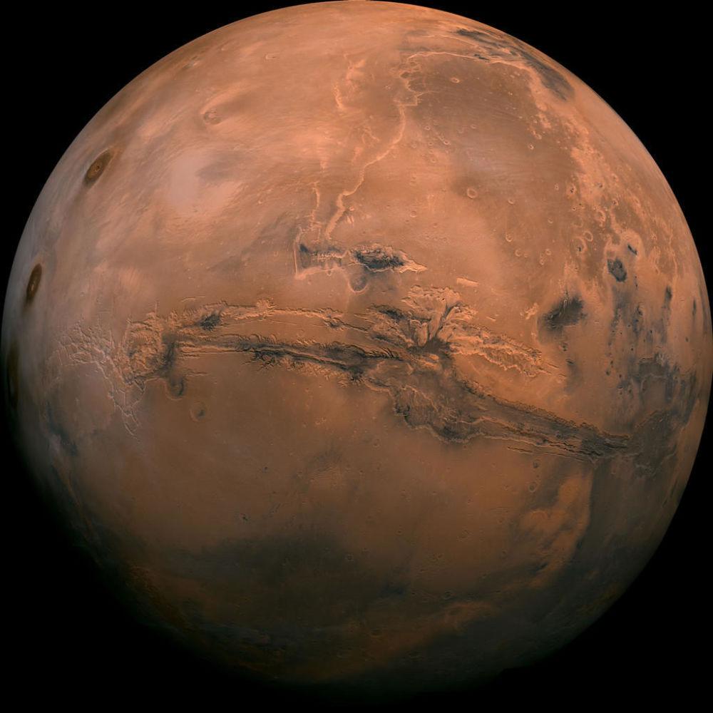 A vista do espaço do vale marciano Marineris