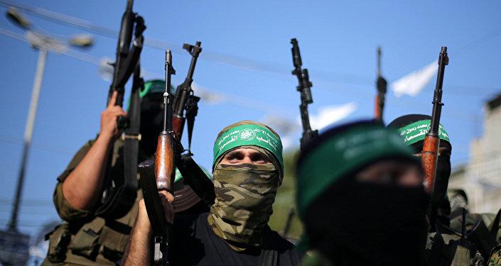 Militantes do braço armado do Hamas na Faixa de Gaza