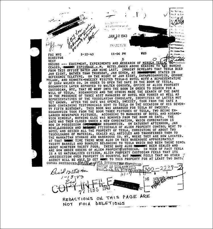 Documento do FBI escrito após a morte de Tesla