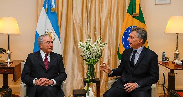 Presidentes de Brasil e Argentina, Michel Temer e Mauricio Macri (arquivo)