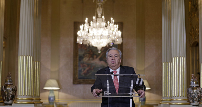 Futuro secretário-geral da ONU, António Guterres, fala durante entrevista coletiva, Lisboa, Portugal, 6 de outubro de 2016