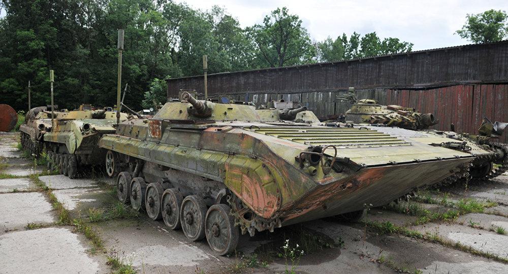 Vehículos blindados en la fábrica de tanques de la región de Lvov, Ucrania