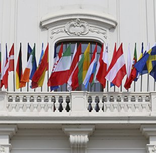 Bandeiras dos países da UE exibidas no Palácio de Bratislava, Eslováquia, durante a cúpula da União Europeia, 16 de setembro de 2016