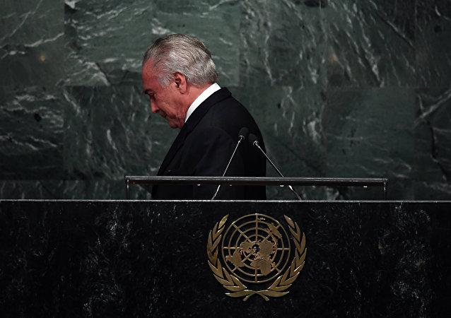 Michel Temer após discurso na Assembleia Geral da ONU, em 20 de setembro de 2016