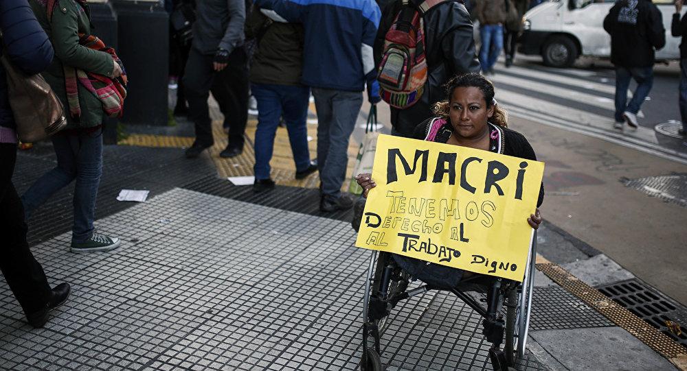 Protesto de trabalhadores em Buenos Aires, Argentina