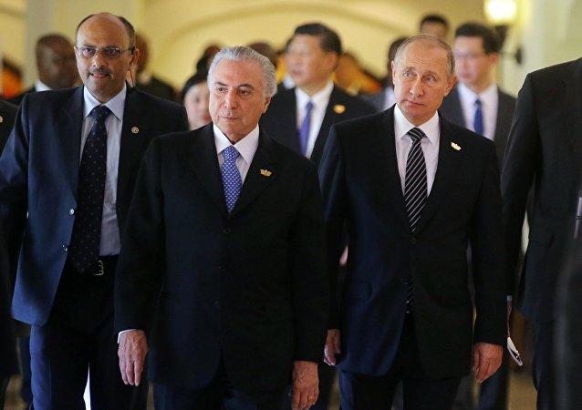 Presidente Michel Temer com o seu homólogo russo, Vladimir Putin em 16 de outubro, Goa, hotel Taj Exotica