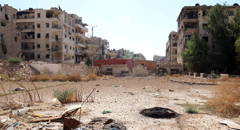 Caminho no bairro Bustan al-Qasr, Aleppo, Síria, 20 de outubro de 2016