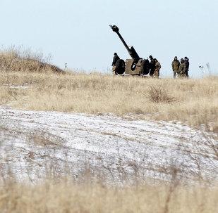 Artilharia ucraniana em Donbass, foto de arquivo