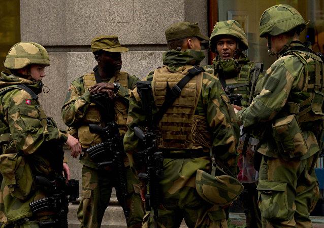 Soldados da Noruega, foto de arquivo
