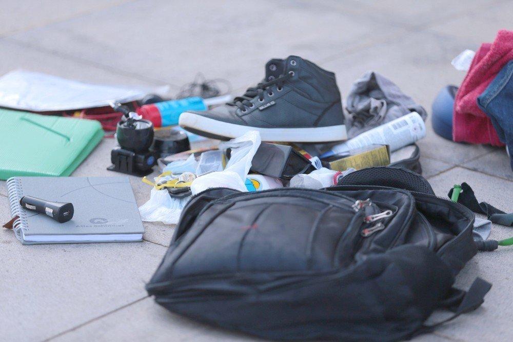 Objetos encontrados na mochila