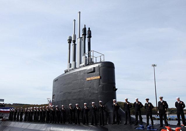 USS Illinois da Marinha dos EUA, ceremônia de lançamento, Groton, Connecticut. 29 de outubro de 2016