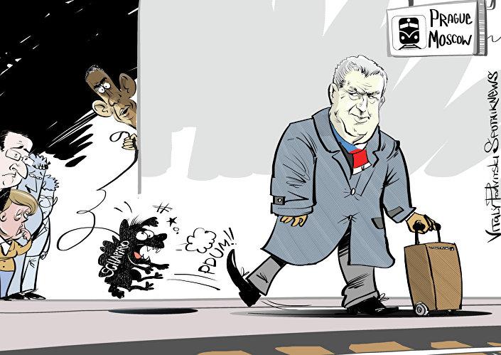 Caricatura sobre o escândalo em torno do embaixador norte-americano na República Tcheca Andrew Shapiro e do presidente do país Milos Zeman.