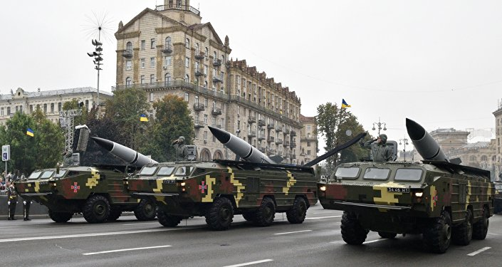 O desfile militar por ocasião do Dia de Independencia da Ucrânia