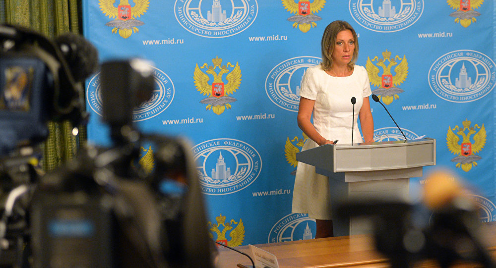 O briefing da representante oficial da chancelaria russa Maria Zakharova