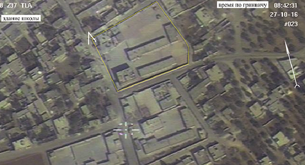 Imagem do drone russo tirada na povoação de Hass na província síria de Idlib