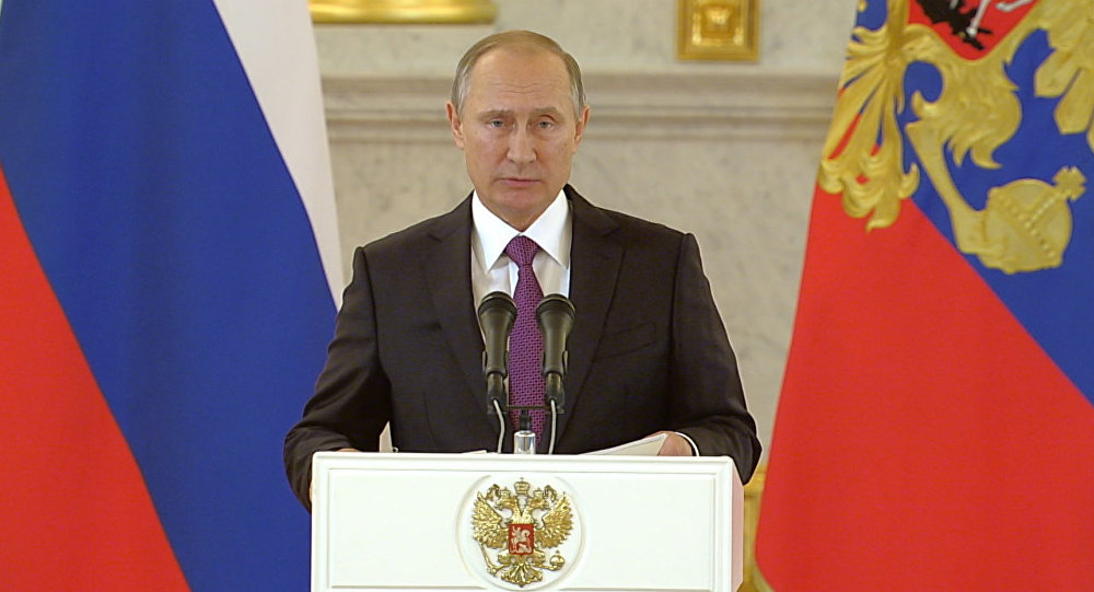 Vladimir Putin durante um discurso (foto de arquivo)