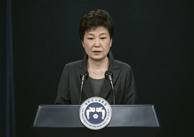 Park Geun-hye durante um discurso na Casa Azul, residência oficial de presidentes da Coreia do Sul