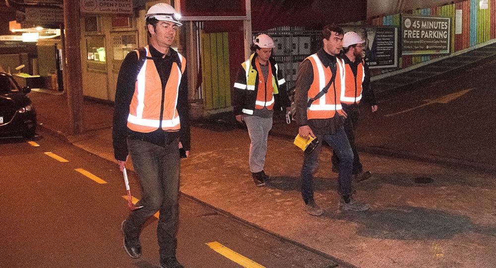Engenheiros realizam inspeção em prédios de Wellington após terremotos que atingiram a Zova Zelândia