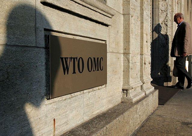 Entrada da sede da Organização Mundial do Comércio em Genebra, Suiça (foto de arquivo)