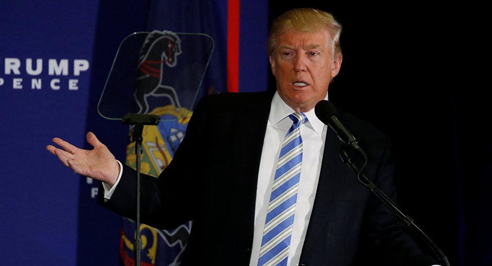 O candidato republicano dos EUA, Donald Trump em um evento de campanha eleitoral em Gettysburg, Pensilvânia, em 22 de outubro de 2016