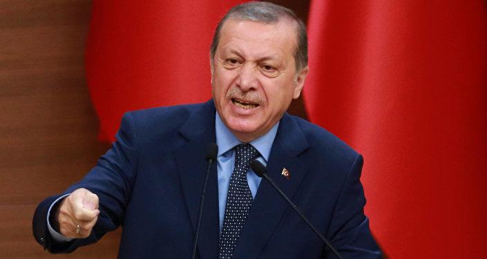 Presidente da Turquia Recep Tayyip Erdogan durante discurso