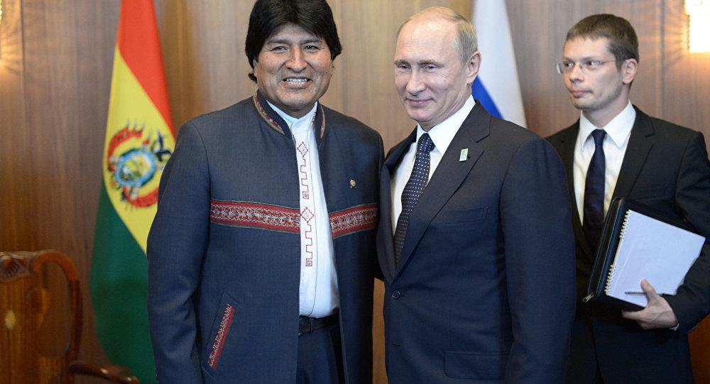 Presidente da Rússia, Vladímir Putin, e presidente de Bolívia, Evo Morales