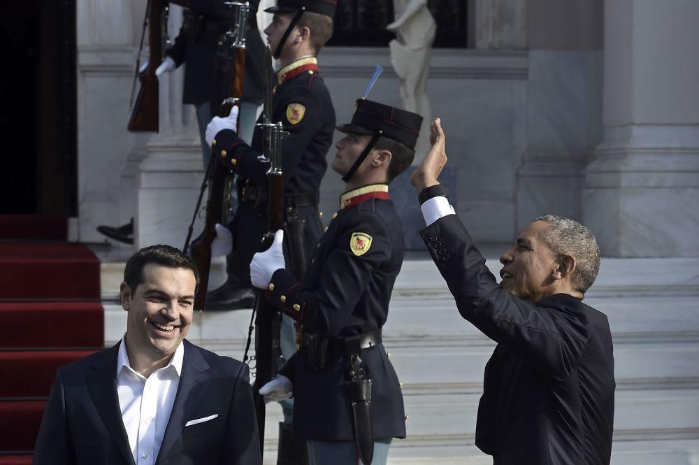 Premiê grego Aléxis Tsípras e Barack Obama durante sua última visita à Europa no cargo de presidente