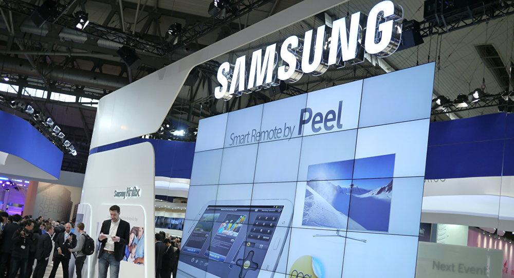 Logo da Samsung em uma exposição