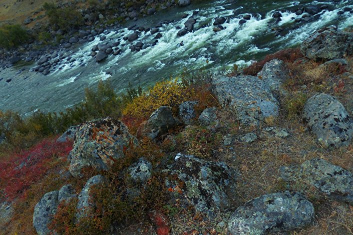 O rio Chulyshman, na República do Altai (perto da Sibéria), é um exemplo de rio de montanha. Altai é uma região com uma grande diversidade ecológica