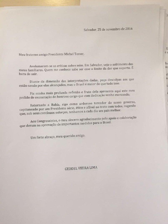 Carta de demissão de Geddel Vieira Lima, enviada ao presidente Michel Temer