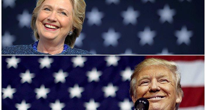 Os candidatos à presidência norte-americana, Hillary Clinton e Donald Trump, discursam durante a campanha eleitoral, na Iowa e no Ohio, em 28 de outubro e 20 de outubro de 2016