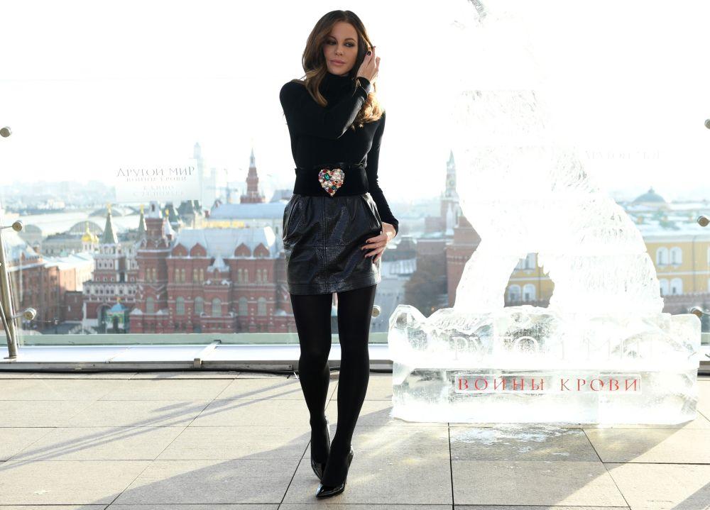 Kate Beckinsale, atriz britânica e protagonista da série Anjos da Noite (Underworld, em inglês), participa da estreia da quinta temporada da famosa saga em Moscou