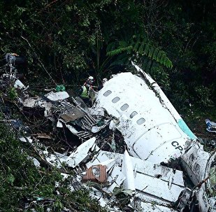 Destroços do avião  da LaMia, que caiu com a equipe Chapecoense e jornalistas