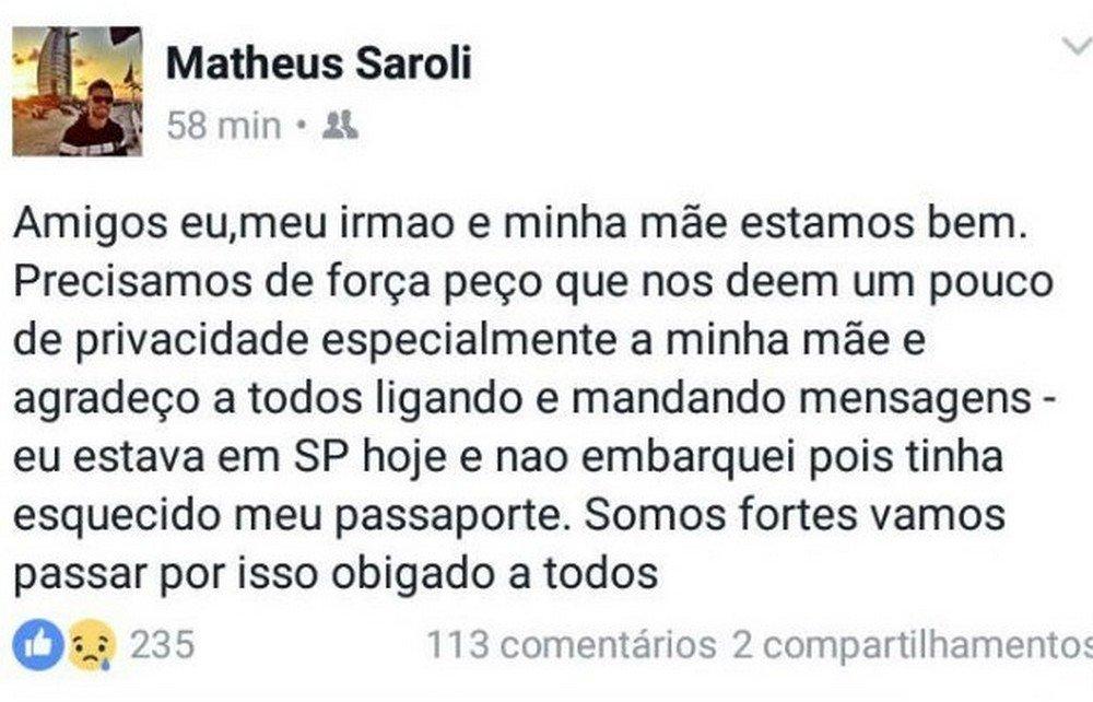 Mensagem Matheus Saroli, filho do técnico Caio Júnior do Chapecoense