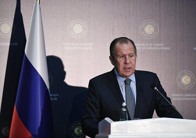 Ministro das Relações Exteriores da Rússia Sergei Lavrov durante uma coletiva de imprensa